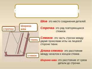 Основные понятия Шов- это место соединения деталей. Строчка- это ряд повторя