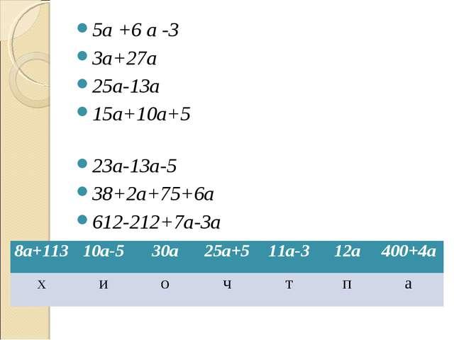 5а +6 а -3 3а+27а 25а-13а 15а+10а+5 23а-13а-5 38+2а+75+6а 612-212+7а-3а 8а+11...
