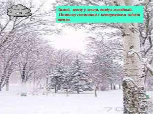 Зимой, внизу у земли, воздух холодный. Поэтому снежинки с нетерпением ждали т