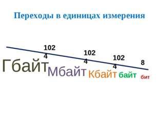 Переходы в единицах измерения бит байт Кбайт Мбайт Гбайт 8 1024 1024 1024