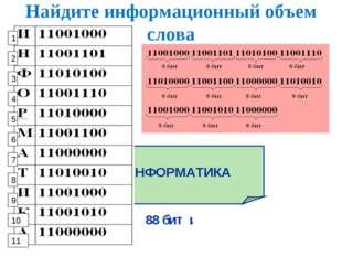 Найдите информационный объем слова ИНФОРМАТИКА 88 бит или 11 байтов 1 2 3 4 5