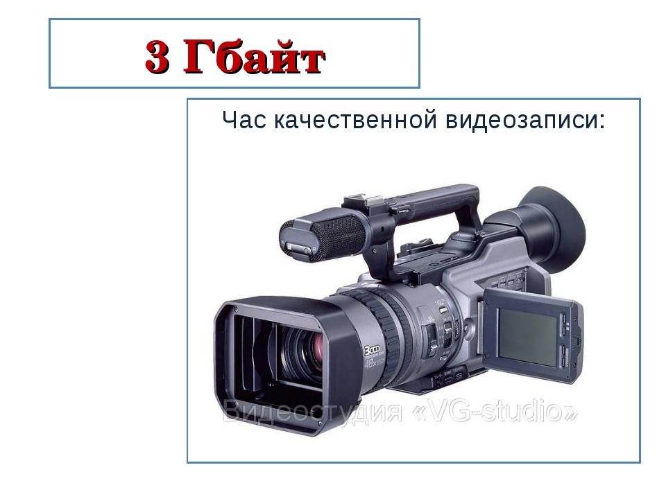 3 Гбайт Час качественной видеозаписи: