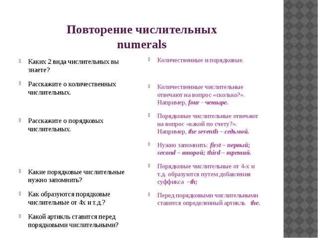 Повторение числительных numerals Каких 2 вида числительных вы знаете? Расскаж...