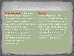 What about the definition? Фразеологизм-устойчивое сочетание слов, которое ха