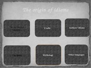 The origin of idioms The old English language Crafts The Bible Mythology Auth