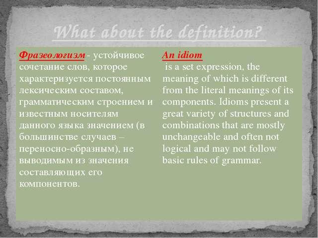 What about the definition? Фразеологизм-устойчивое сочетание слов, которое ха...