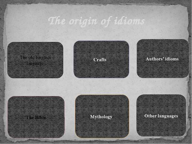 The origin of idioms The old English language Crafts The Bible Mythology Auth...