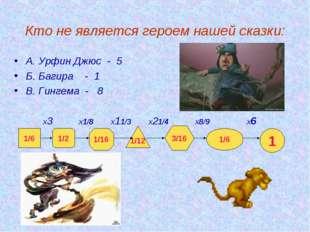 Кто не является героем нашей сказки: А. Урфин Джюс - 5 Б. Багира - 1 В. Гинг
