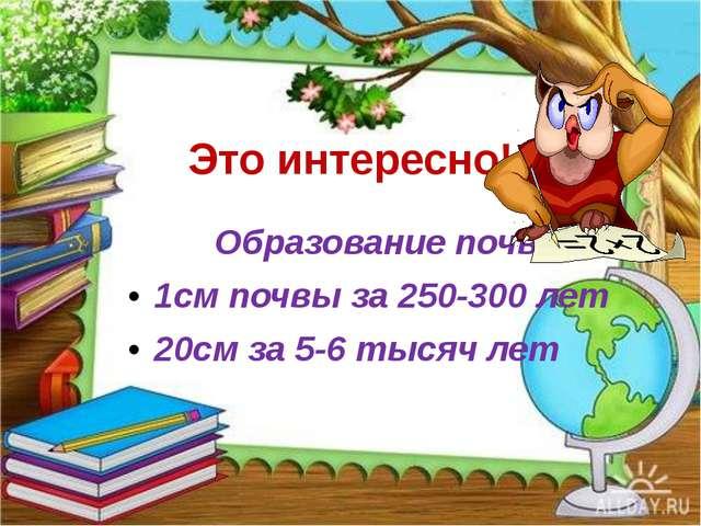 Это интересно! Образование почвы. 1см почвы за 250-300 лет 20см за 5-6 тысяч...