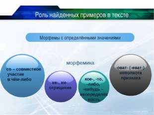 www.themegallery.com C Роль найденных примеров в тексте Морфемы с определённы