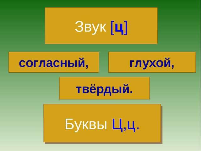 Звук [ц] согласный, глухой, твёрдый. Буквы Ц,ц.