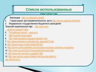 Список использованных ресурсов Википедия http://ru.wikipedia.org/wiki Горная