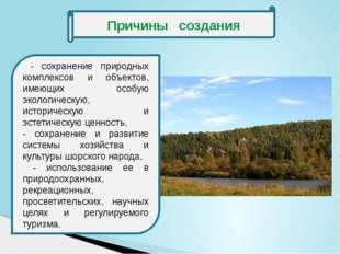 Причины создания - сохранение природных комплексов и объектов, имеющих особу