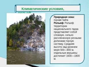 Климатические условия, рельеф Природная зона: горная тайга Рельеф: Рельеф те