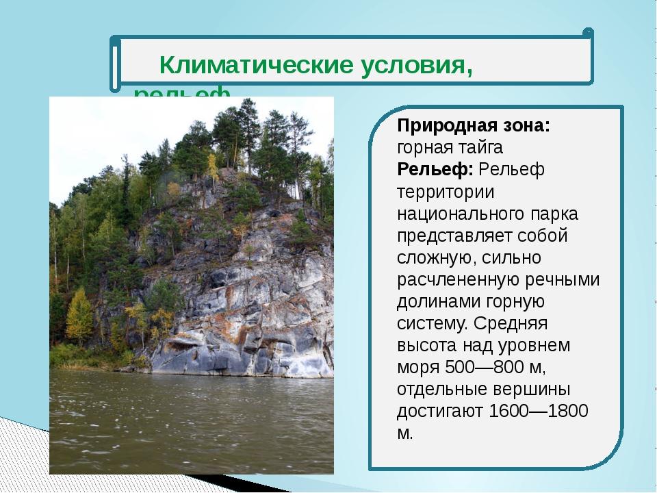 Климатические условия, рельеф Природная зона: горная тайга Рельеф: Рельеф те...