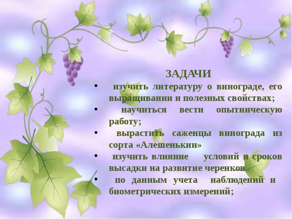 ЗАДАЧИ изучить литературу о винограде, его выращивании и полезных свойствах;...