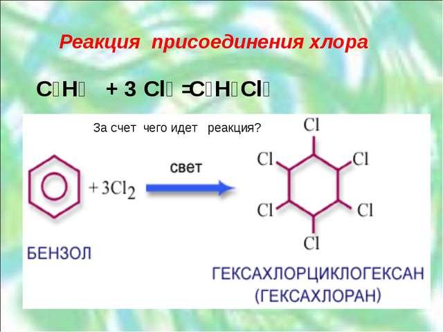 Реакция присоединения хлора C₆H₆ + Cl₂ = C₆H₆Cl₆ 3 За счет чего идет реакция?