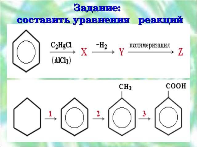 Задание: составить уравнения реакций