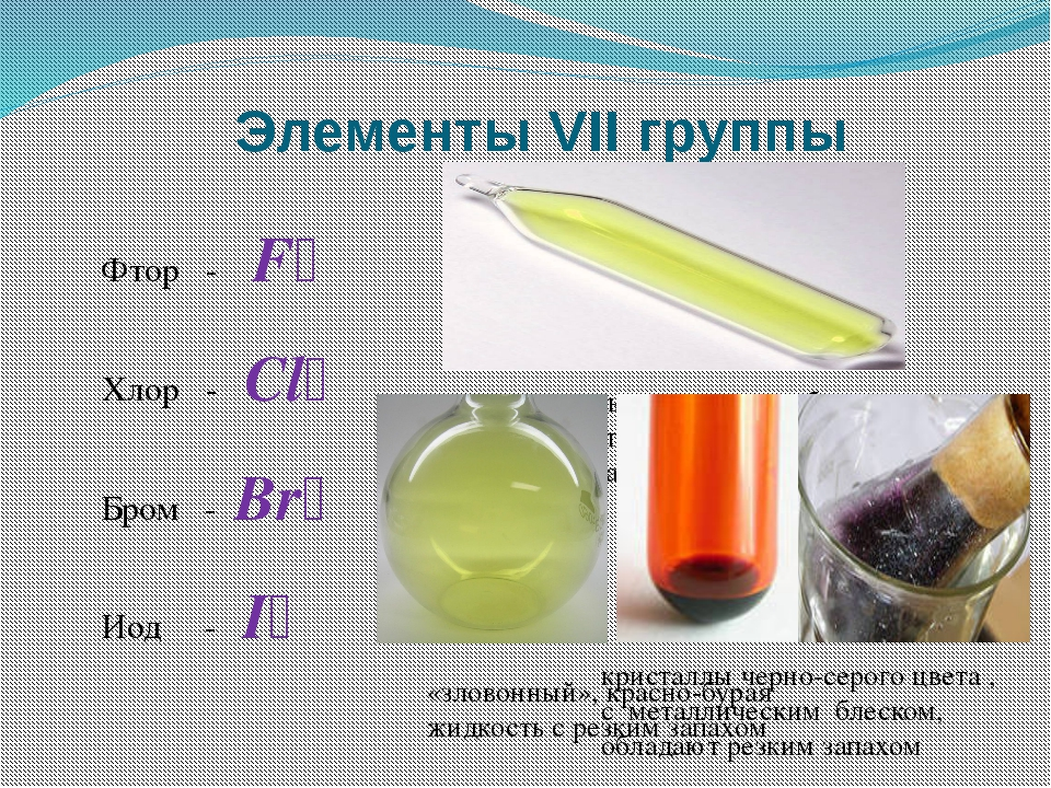 Элементы VII группы Фтор - F₂ Хлор - Cl₂ Бром - Br₂ Иод - I₂ «уничтожать, раз...