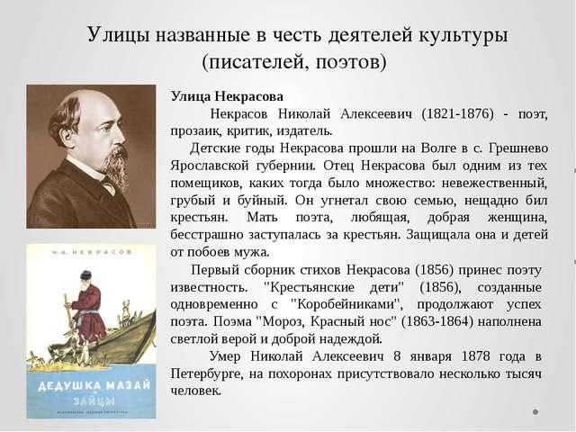 Улицы названные в честь деятелей культуры (писателей, поэтов) Первый сборник...