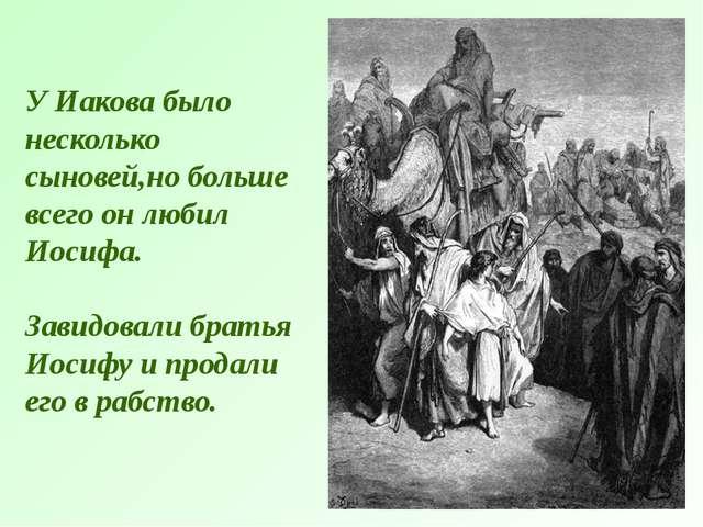 У Иакова было несколько сыновей,но больше всего он любил Иосифа. Завидовали б...