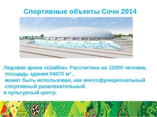 Спортивные объекты Сочи 2014 Ледовая арена «Шайба». Рассчитана на 12000 челов