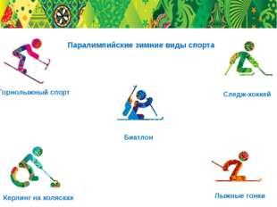 Горнолыжный спорт Биатлон Следж-хоккей Лыжные гонки Керлинг на колясках Парал