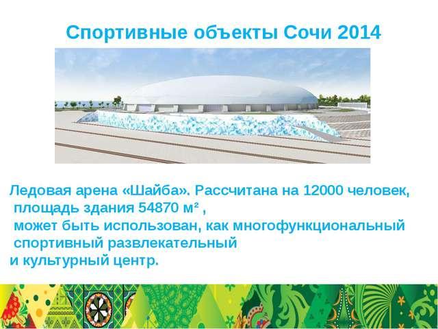 Спортивные объекты Сочи 2014 Ледовая арена «Шайба». Рассчитана на 12000 челов...