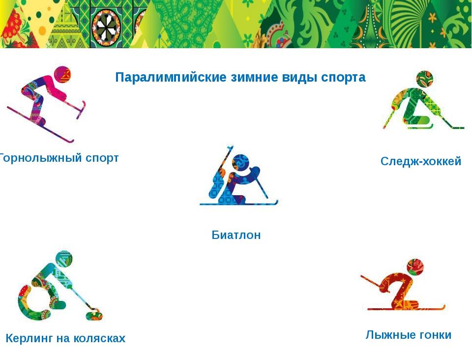 Горнолыжный спорт Биатлон Следж-хоккей Лыжные гонки Керлинг на колясках Парал...