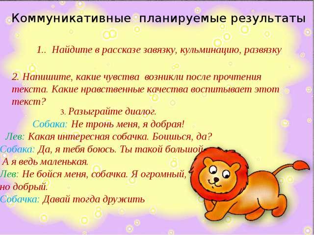 3. Разыграйте диалог. Собака: Не тронь меня, я добрая! Лев: Какая интересная...