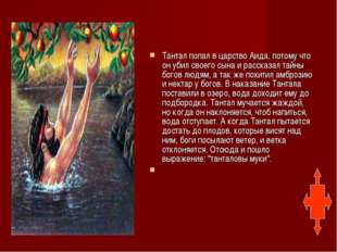 Тантал попал в царство Аида, потому что он убил своего сына и рассказал тайн