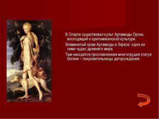 В Спарте существовал культ Артемиды Ортии, восходящий к критомикенской культ