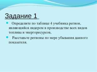 Задание 1 Определите по таблице 4 учебника регион, являющийся лидером в произ