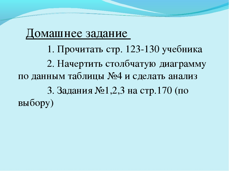 Домашнее задание 1. Прочитать стр. 123-130 учебника 2. Начертить столбчатую...