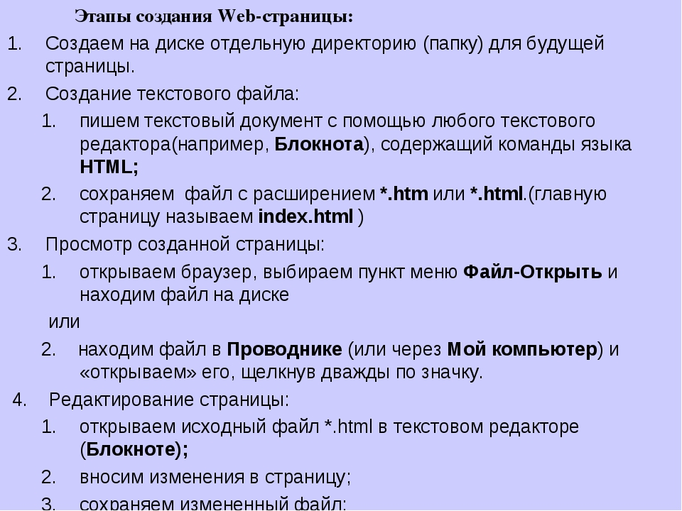 Этапы создания Web-страницы: Создаем на диске отдельную директорию (папку) д...