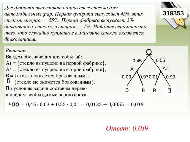 Решение: Определим события: А ={вопрос на тему «Вписанная окружность»},Р(А...