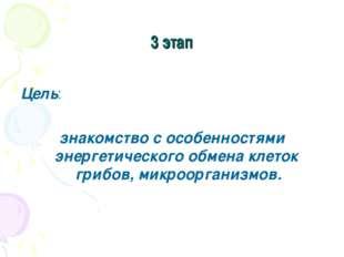 3 этап Цель: знакомство с особенностями энергетического обмена клеток грибов,