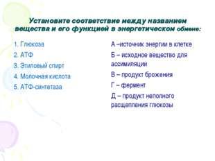 Установите соответствие между названием вещества и его функцией в энергетичес