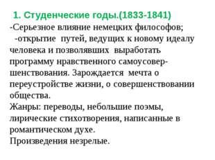1. Студенческие годы.(1833-1841) -Серьезное влияние немецких философов; -отк