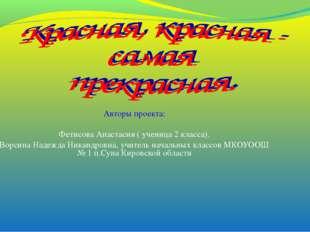 Авторы проекта: Фетисова Анастасия ( ученица 2 класса). Ворсина Надежда Никан