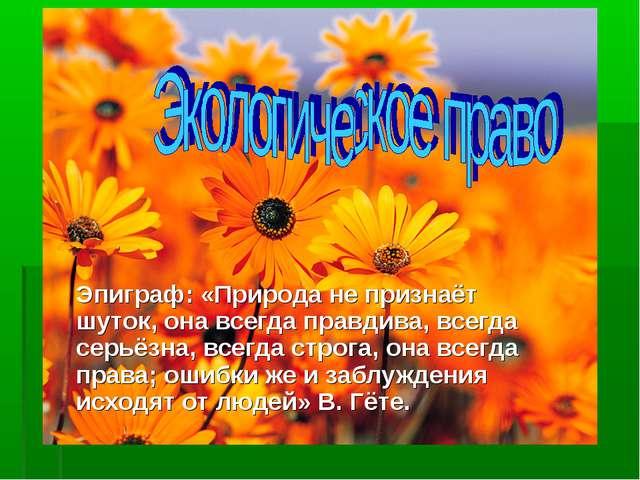 Эпиграф: «Природа не признаёт шуток, она всегда правдива, всегда серьёзна, вс...
