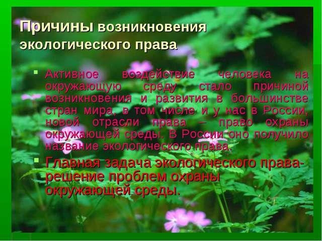 Причины возникновения экологического права Активное воздействие человека на о...