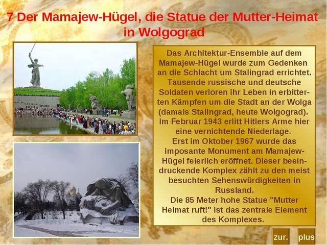 7 Der Mamajew-Hügel, die Statue der Mutter-Heimat in Wolgograd Das Architektu...