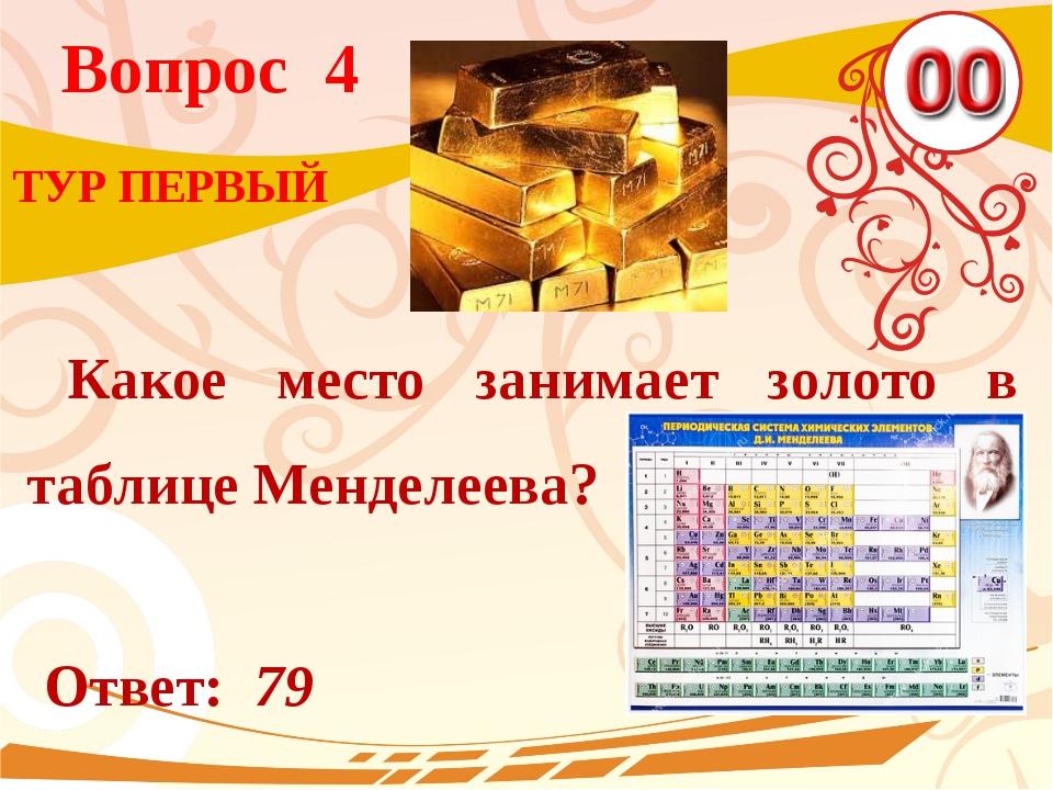 Вопрос 4 Ответ: 79 ТУР ПЕРВЫЙ Какое место занимает золото в таблице Менделеева?