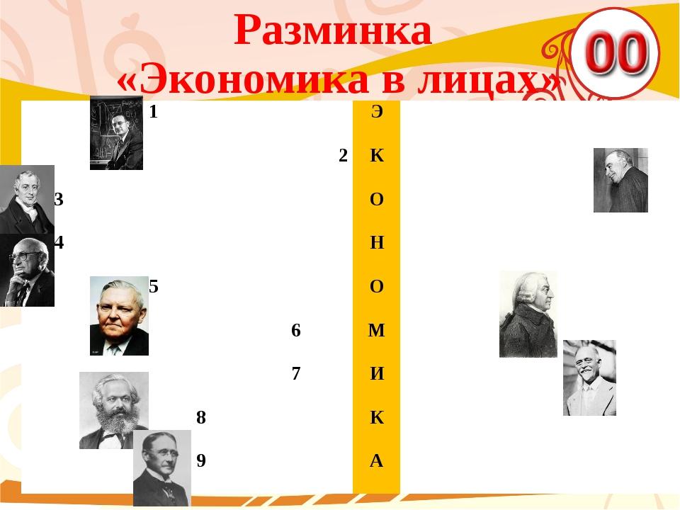 Разминка «Экономика в лицах» 1 Э 2 К 3 О 4 Н 5 О 6 М 7 И 8 К 9 А