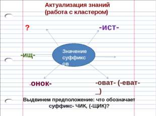 Актуализация знаний (работа с кластером) Значение суффиксов -ист- -оват- (-ев