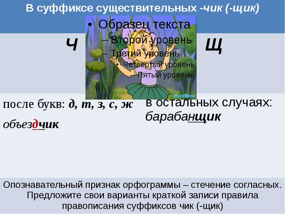 Работа с учебником В суффиксе существительных-чик (-щик) Ч Щ после букв:д, т,...