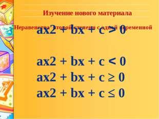 Неравенства второй степени с одной переменной ax2 + bx + c > 0 ax2 + bx + c <