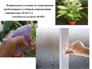 Нормальные условия по санитарным требованиям к учебным помещениям: температу