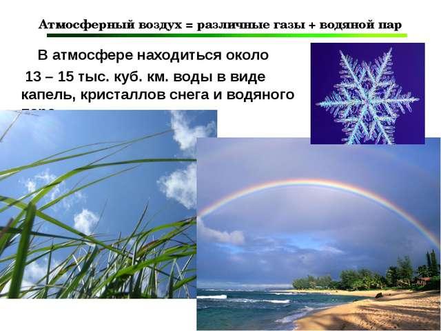 Атмосферный воздух = различные газы + водяной пар В атмосфере находиться окол...